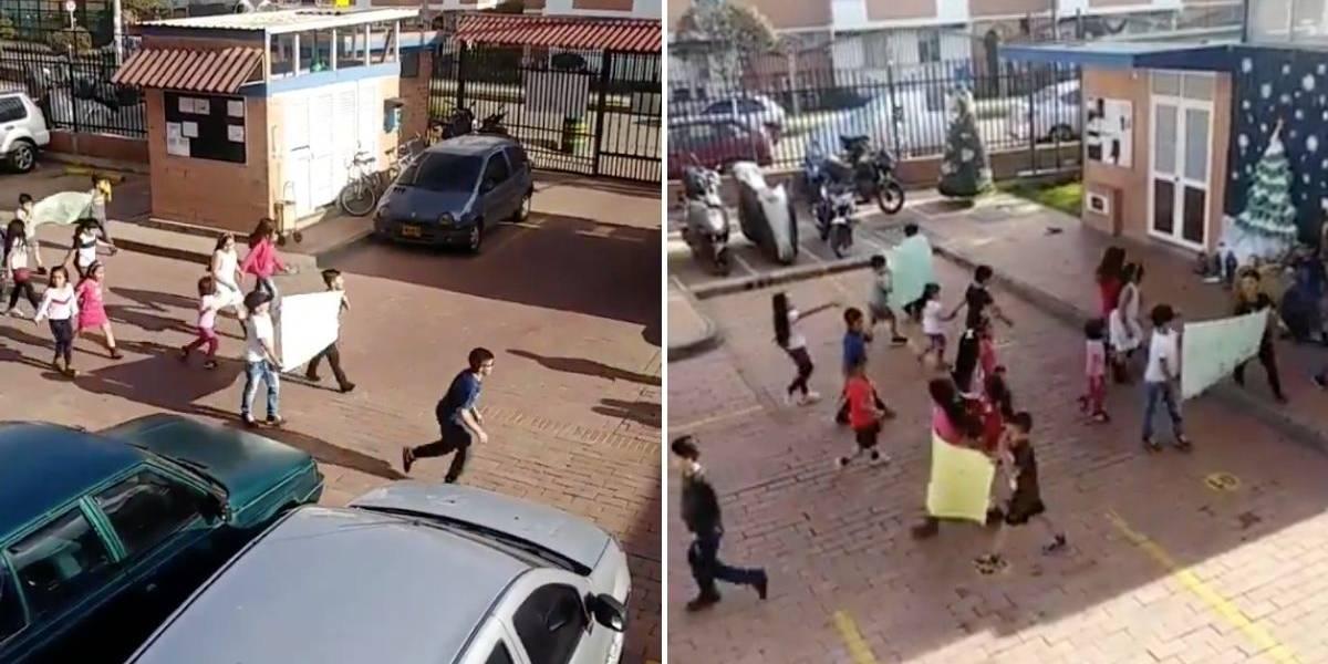 (VIDEO) Grupo de niños realizaron protesta porque en su conjunto residencial no les permiten jugar