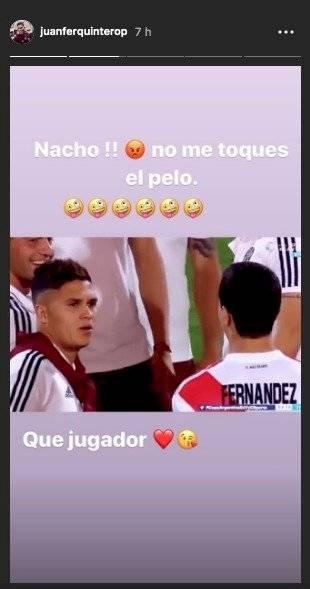 molestia de Juan Fernando Quintero en celebración de Copa Argentina 2019 con River Plate