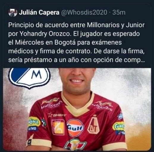 Julián Capera aclaró que transferencia de Yohandry Orozco a Millonarios