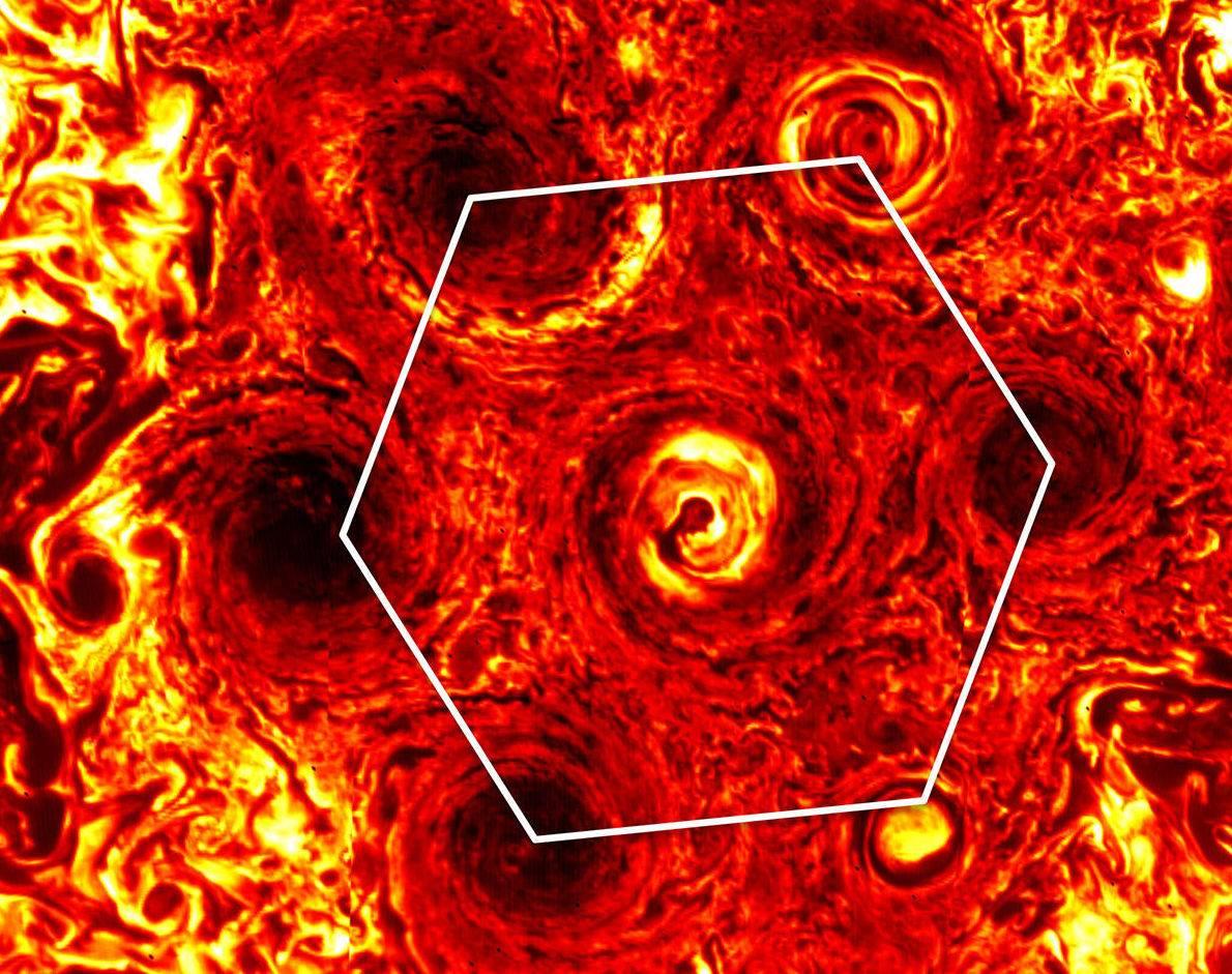 La NASA ahora muestras que ciclones en Júpiter formaron un hexágono
