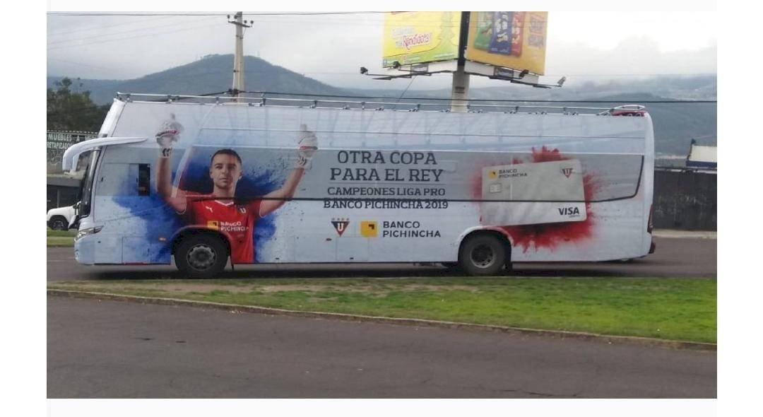 El mensaje escrito en el bus de Liga de Quito si quedaba campeón de la LigaPro Twitter