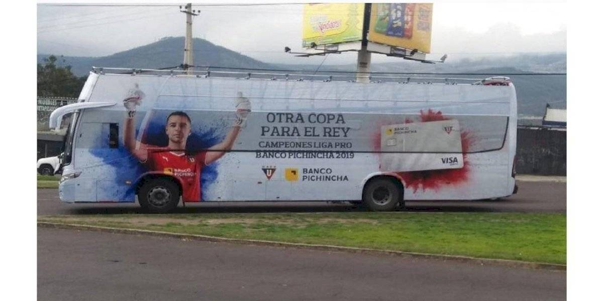 El mensaje escrito en el bus de Liga de Quito si quedaba campeón de la LigaPro