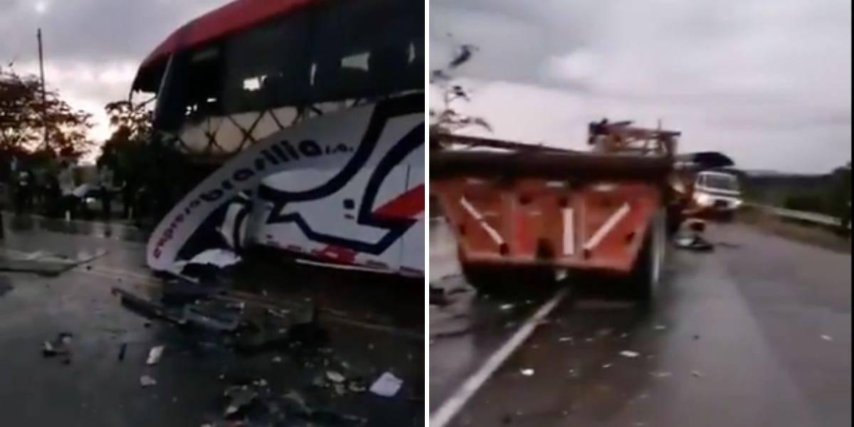 Grave accidente entre bus intermunicipal y tractomula en vía nacional dejó una persona sin vida