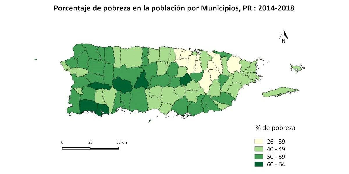 En pobreza 50 por ciento o más de la población en 36 pueblos de Puerto Rico