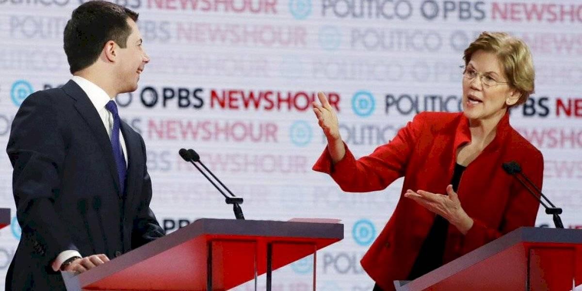 Pete Buttigieg y Elizabeth Warren chocan en debate demócrata