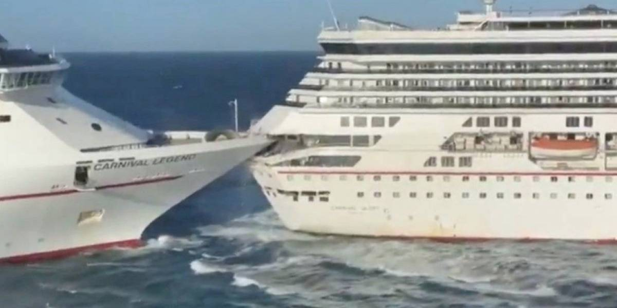 (VIDEO) Impactante choque entre dos cruceros en Cozumel