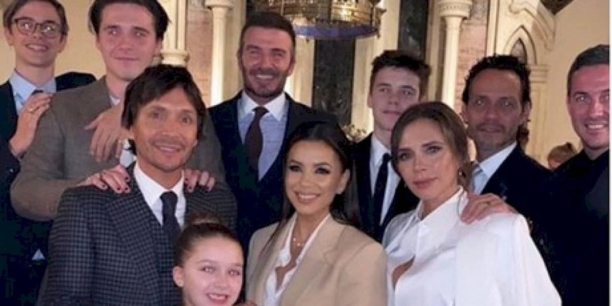 Eva Longoria y Marc Anthony se unen a la familia Beckham en el bautizo de sus hijos