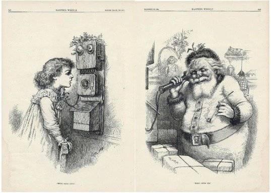 En 1863 un dibujante de origen alemán llamado Thomas Nast, dibujó a Santa Claus para el Harper's Weekly, vistiéndolo como los antiguos obispos.