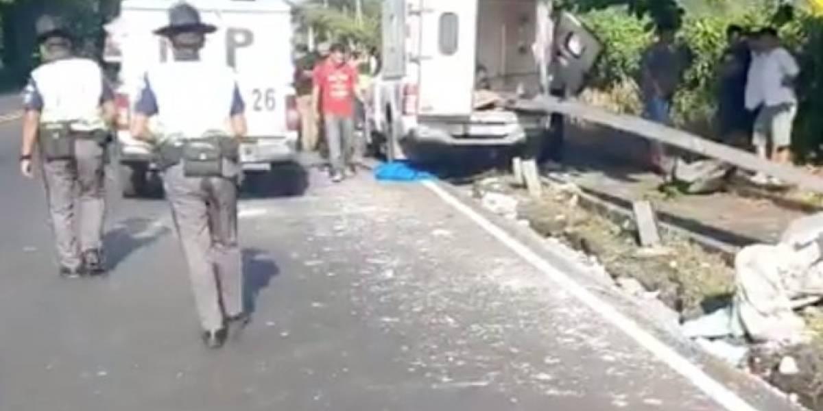 VIDEO. Enfermera pierde la vida en accidente en Siquinalá, Escuintla