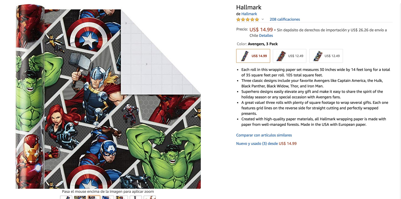papel avengers amazon