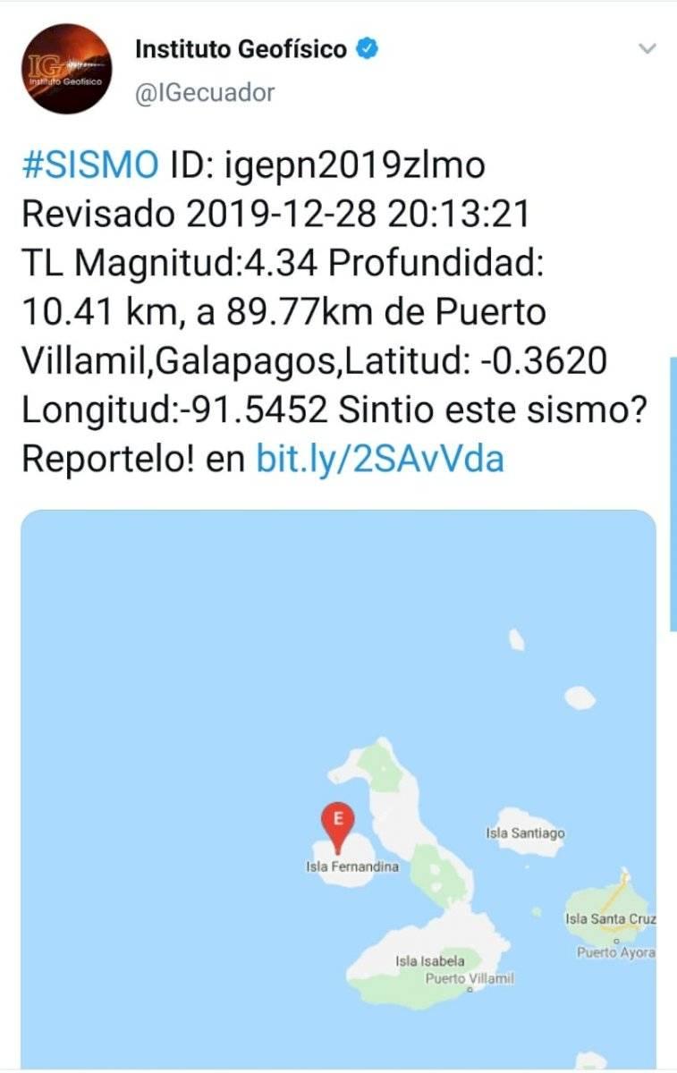 Sismo en Galápagos