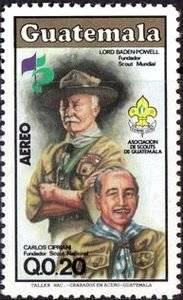 Timbre postal en conmemoración a Robert Baden-Powell, fundador de los Scouts, y Carlos Cirpiani, fundador de los Scouts de Guatemala. Foto: Internet