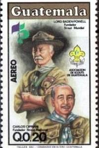 Timbre postal en conmemoración a Robert Baden-Powell, fundador de los Scouts, y Carlos Cirpiani, fundador de los Scouts de Guatemala.