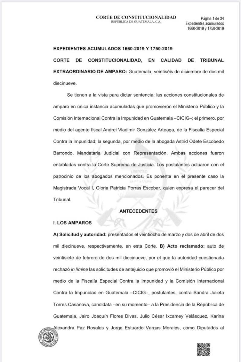 Resolución de la CC beneficia a Sandra Torres. Foto: Cortesía