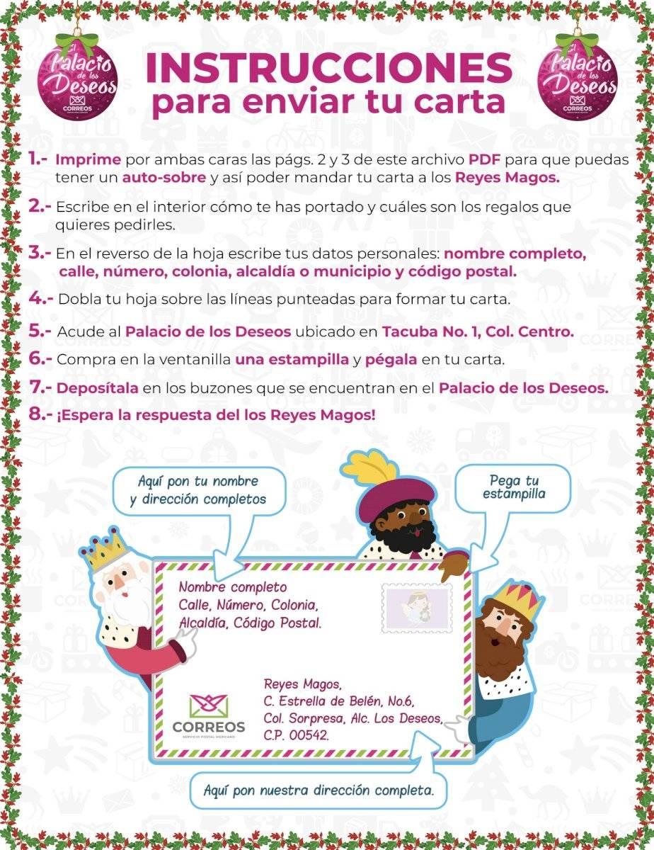 Instrucciones para llenar la carta a los Reyes Magos