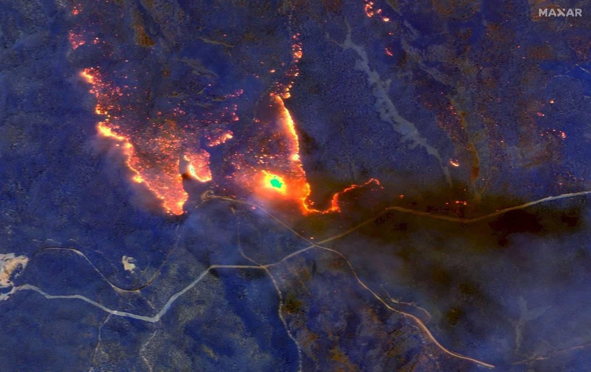 Imagen satelital de los incendios en Australia