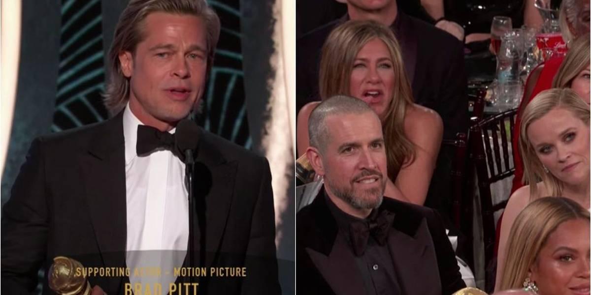 Globo de Ouro 2020: A reação de Jennifer Aniston à piada em discurso de Brad Pitt