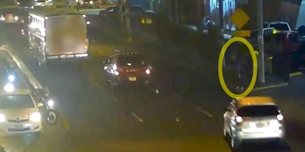 VIDEO. Peatón es atropellado en zona 2 por su propia imprudencia