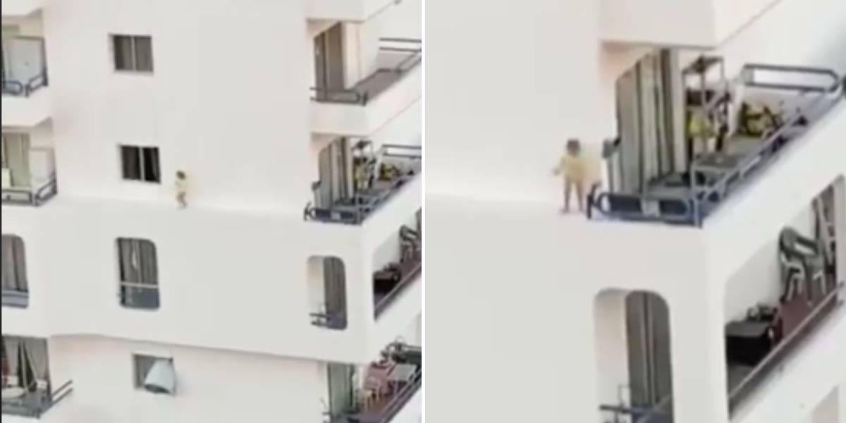(VIDEO) ¡De infarto! Niña corre por el borde de un edificio a 30 metros de altura