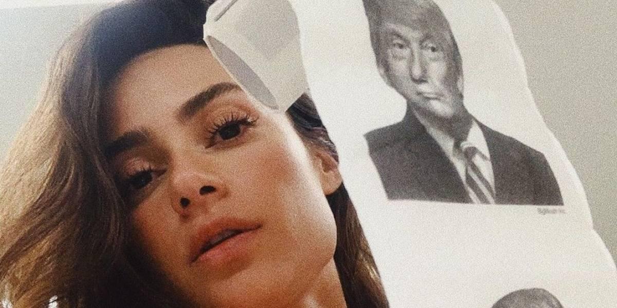 Thaila Ayala usa papel higiênico com rosto de Donald Trump