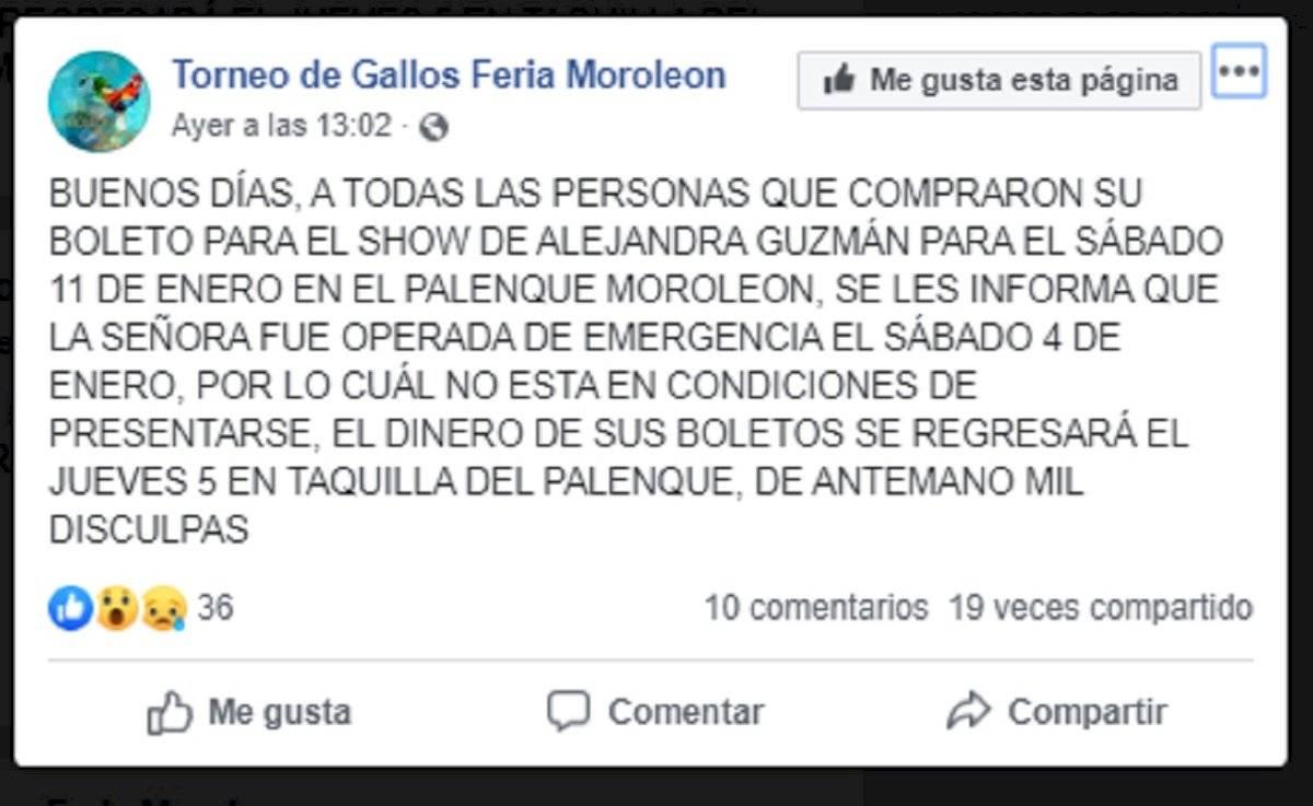Operaron de emergencia a Alejandra Guzmán