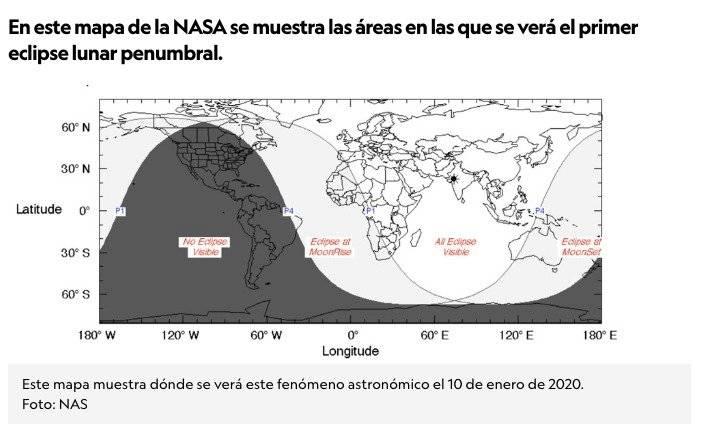Mapa de lugares donde se verá el eclipse parcial de luna