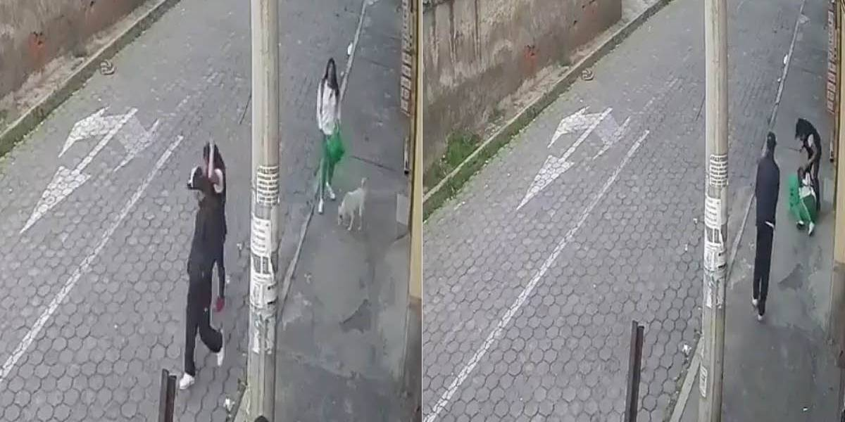 Captan momento en que un hombre y una mujer intentan asaltar a estudiante en el sur de Quito