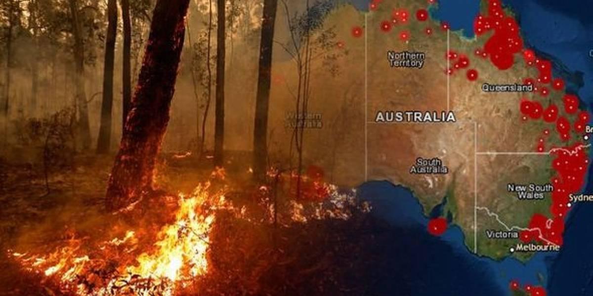 Conoce la extensión de los incendios australianos comparados con el territorio chileno
