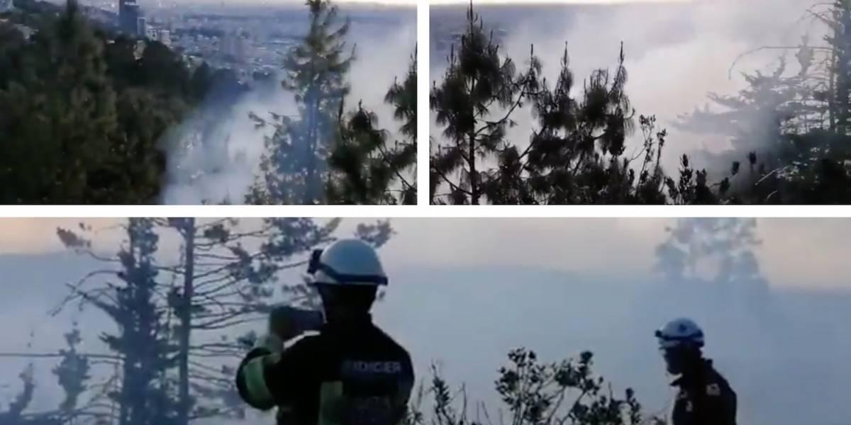 Bomberos continúan trabajando para apagar incendio en los Cerros, en el norte de Bogotá