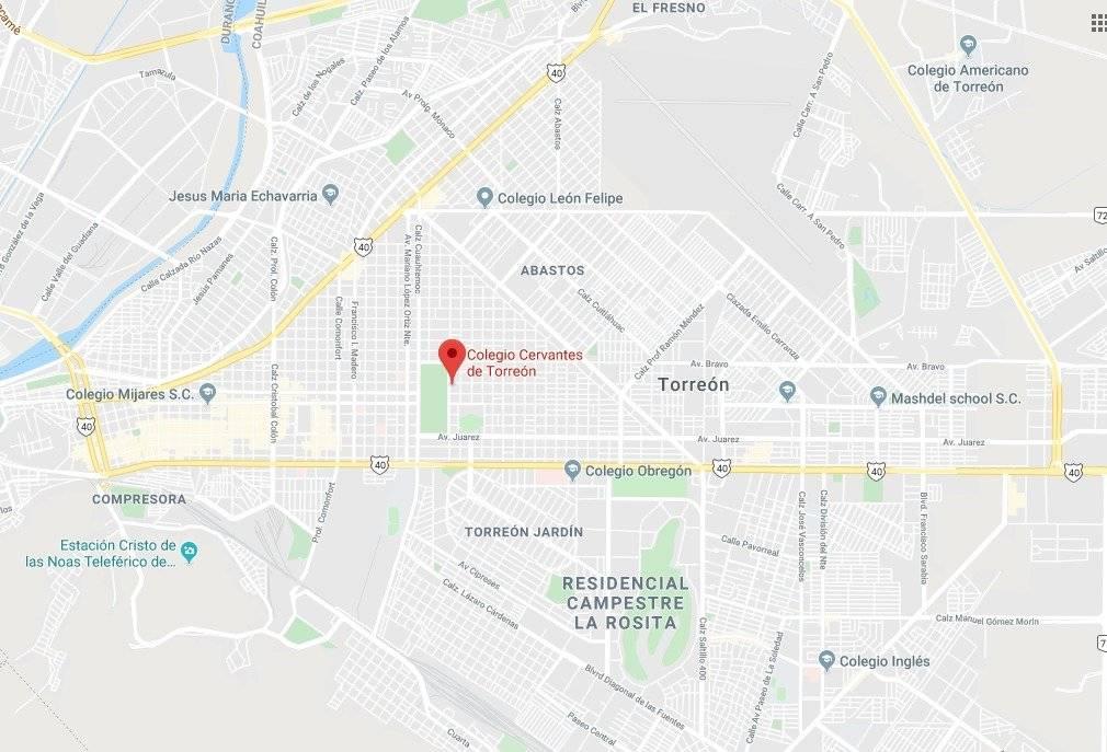 Mapa de la ubicación del Colegio Cervantes en Torreón
