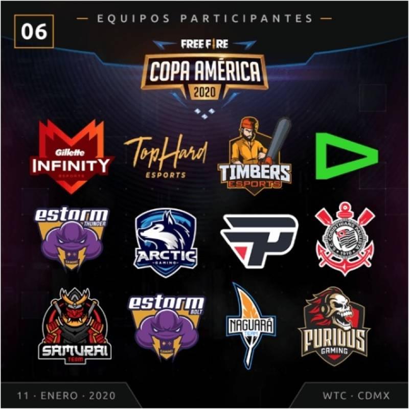 Equipos que competirán en la Copa América 2020 de Free Fire el sábado 11 de enero