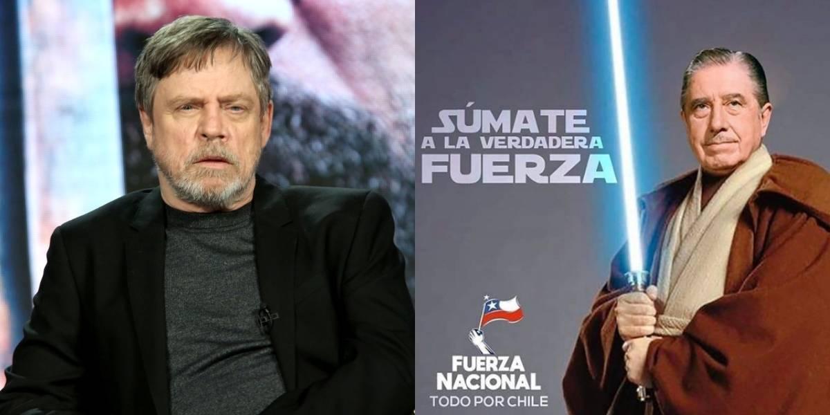 """""""Súmate a la verdadera Fuerza"""": Mark Hamill repudió afiche de Fuerza Nacional donde aparece Pinochet vestido como Jedi"""