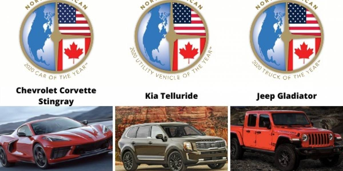 Ganadores del North American Car, Utility and Truck of the Year 2020: Chevrolet Corvette, Kia Telluride y Jeep Gladiator