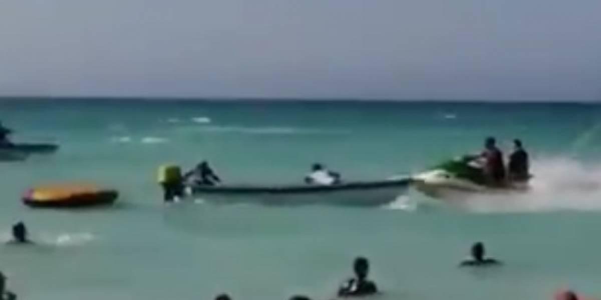 (VIDEO) Accidente entre una lancha y moto acuática dejó un menor de 15 años herido en Cartagena