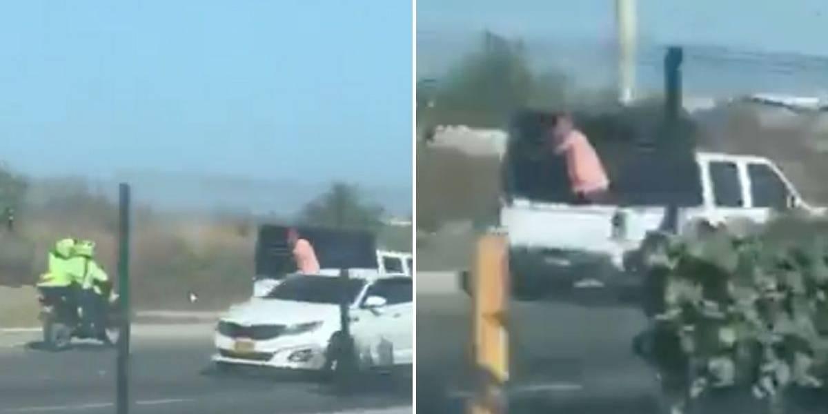 (VIDEO) Persecución de película y en contra vía de camioneta que intentó huir de la Policía