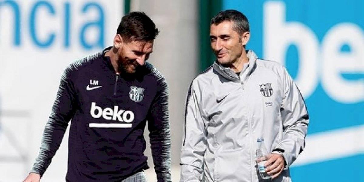 Futbolistas del Barcelona se despiden de Ernesto Valverde