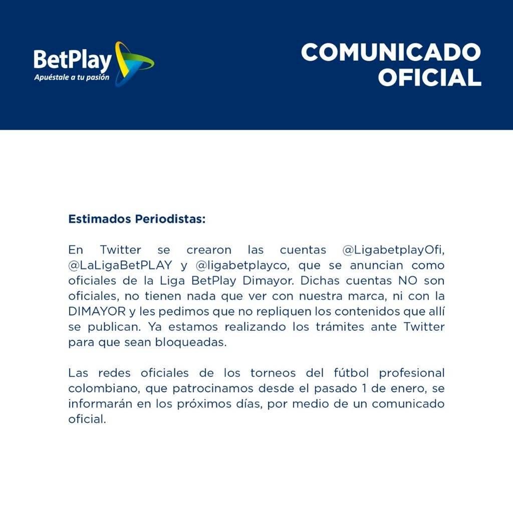 Comunicado Twitter BetPlay