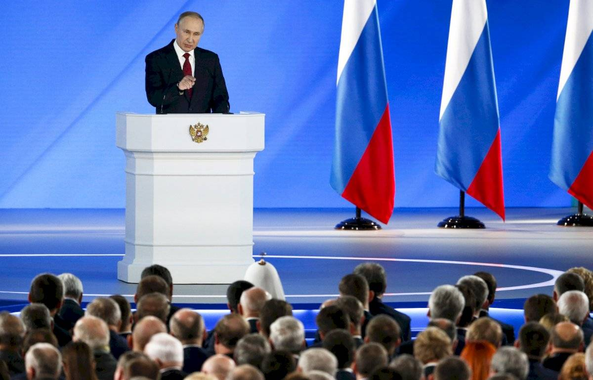 Vladimir Putin durante el discurso Estado de la Nación
