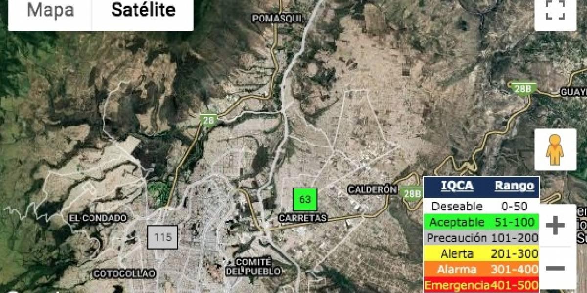 """""""Precaución"""", es el índice de calidad del aire al norte de Quito"""