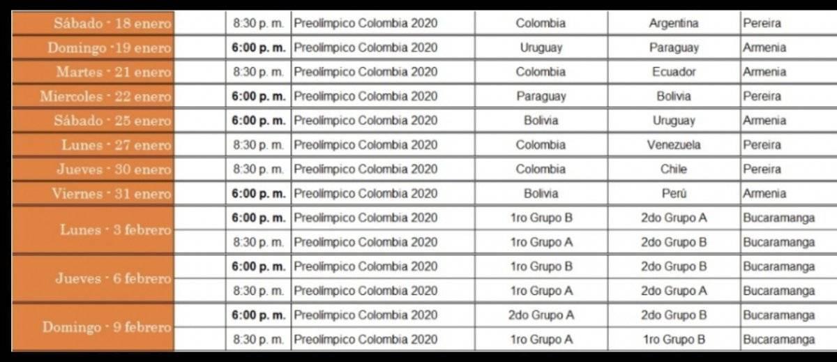 Partidos del Torneo Preolímpico Sub-23 por Win Sports