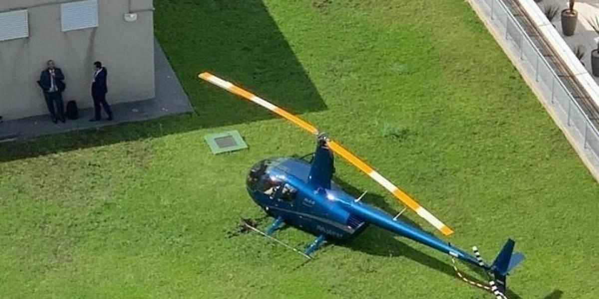 Helicóptero tem falha mecânica e faz pouso forçado em prédio na Faria Lima