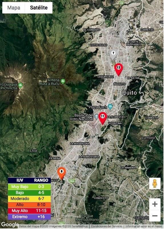 Zonas con mayor radiación en Quito
