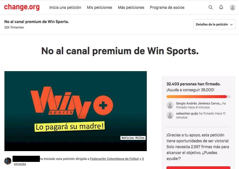 Campaña en Change.org contra Win Sports +