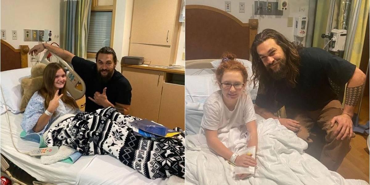 Jason Momoa visita hospital para crianças nos Estados Unidos