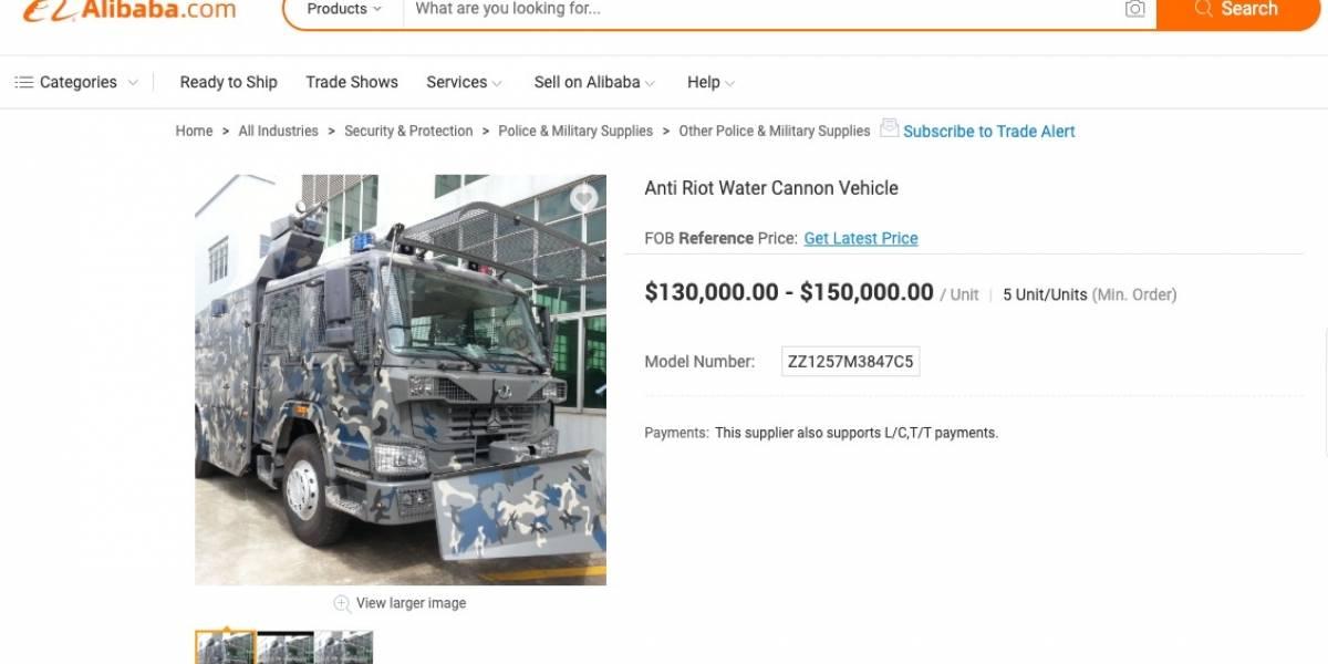 """Una ganga: Alibaba tiene a  la venta carros lanzaaguas para Carabineros a """"módico"""" precio"""
