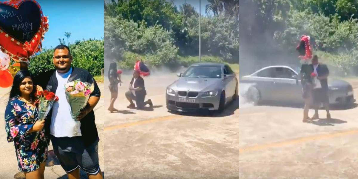 Hombre le propone matrimonio mientras un BMW hace trompos alrededor de ellos