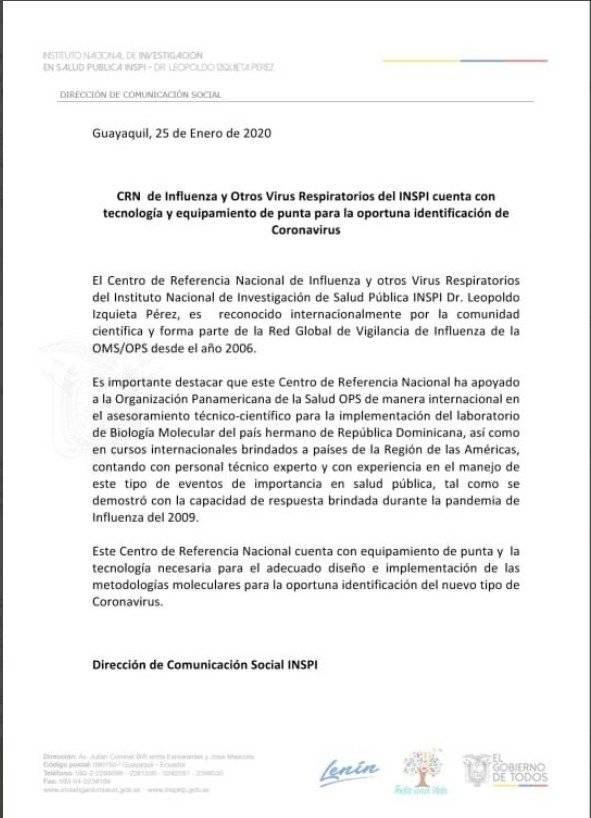 """El Instituto Nacional de Investigación en Salud Publica """"Dr. Leopoldo Izquieta Pérez"""" (INSPI) emitió un boletín este sábado 25 de enero"""