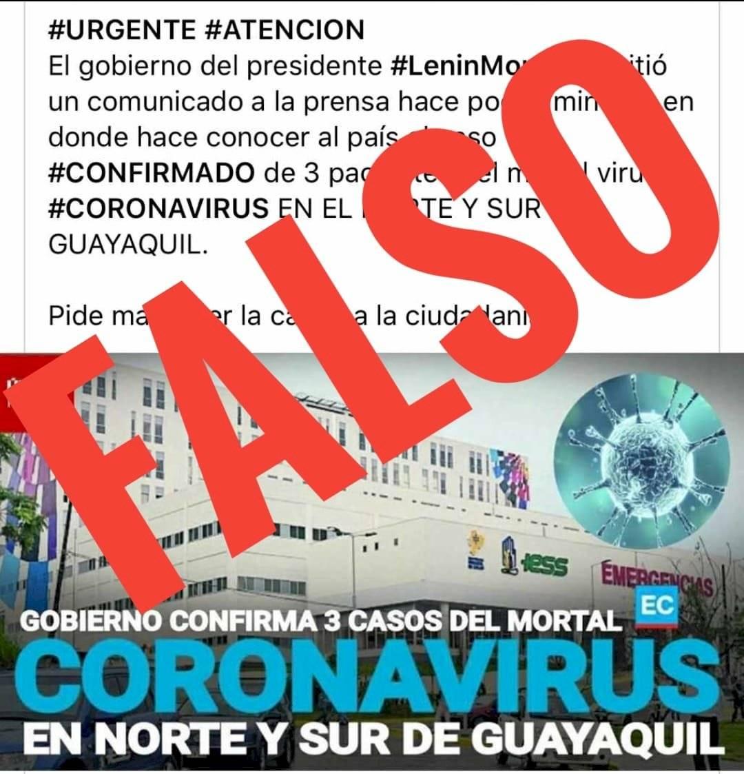 Información falsa de coronavirus en Ecuador