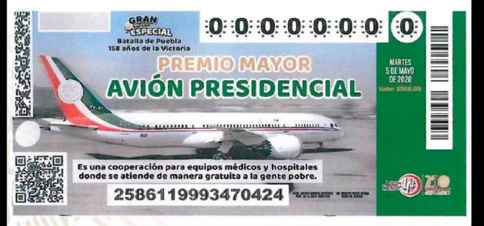 Boleto avión presidencial.
