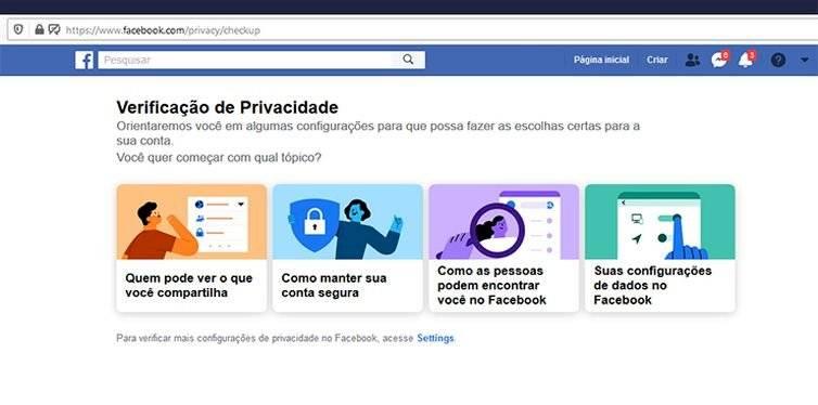 Opções de compartilhamento Facebook